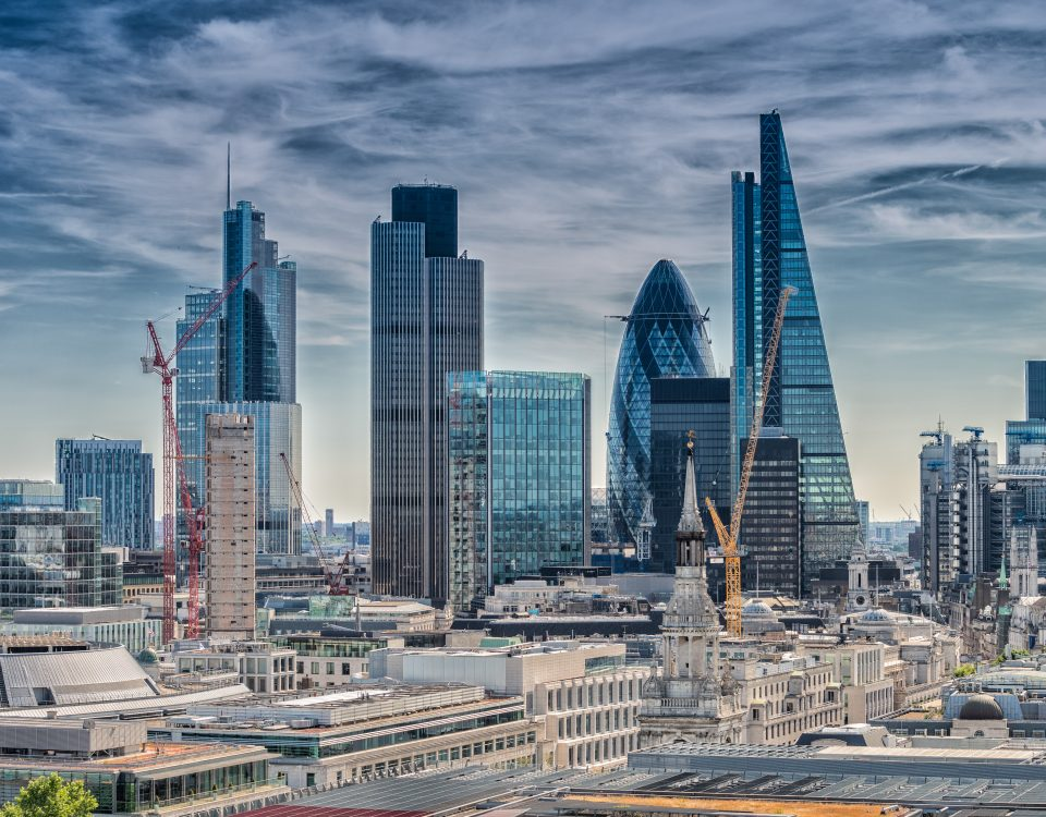 London City. Modern skyline of business district.